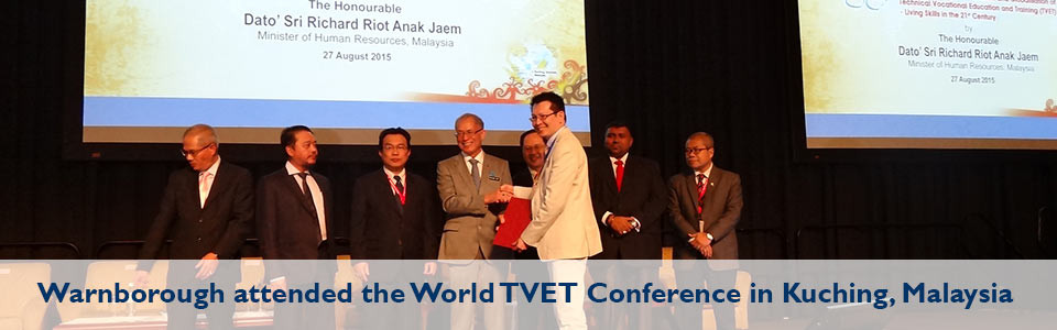 Warnborough attended the World TVET Conference in Kuching, Sarawak, Malaysia in August 2015banner10